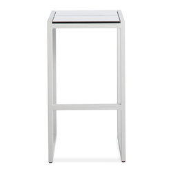 Blu Dot - Blu Dot Skiff Outdoor Barstool - Keep your outdoor entertaining space looking sharp with a set of minimalist bar stools. The pairing of crisp white aluminum and white laminate make an easy complement to your garden, patio or porch. Mix up a pitcher of lemonade and kick back for a relaxing vacation in your own backyard.