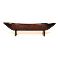 Vintage Carved Wood Display Centerpiece - Vintage carved wood display centerpiece of a large boat on stand. This massive display piece could be used as bread display, kitchen decor, or art piece. Very unique and heavy old world craftsmanship.