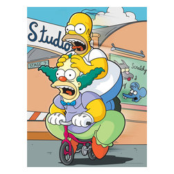 Oriental Furniture - The Simpsons Homer and Krusty Wall Art - Homer Simpson and Krusty the Clown create mayhem, racing past an Itchy & Scratchy billboard in this authentic limited edition art print. The image is printed onto artist quality canvas using remarkable giclee style technology and professionally stretched over mitered wood. This funny, silly print is a limited edition, authentic rendering that will create a fun accent to your home or office.