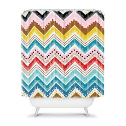 DENY Designs Khristian A Howell Nolita Chevrons Shower Curtain - A true stand-out, the DENY Designs Khristian A Howell Nolita Chevrons Shower Curtain knows how to make showering fun. Made in the United States from woven polyester, this vibrant shower curtain is not to be ignored. With a colorful designer print you can't find anywhere else, you just can't pass this one up.About DENY DesignsDenver, Colorado based DENY Designs is a modern home furnishings company that believes in doing things differently. DENY encourages customers to make a personal statement with personal images or by selecting from the extensive gallery. The coolest part is that each purchase gives the super talented artists part of the proceeds. That allows DENY to support art communities all over the world while also spreading the creative love! Each DENY piece is custom created as it's ordered, instead of being held in a warehouse. A dye printing process is used to ensure colorfastness and durability that make these true heirloom pieces. From custom furniture pieces to textiles, everything made is unique and distinctively DENY.