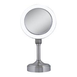 Zadro - 10x/1x Surround Vanity Mirror - The Surround Lighted Vanity Mirror features dual-sided, optical quality glass to ensure a clearer reflection of your true self. On one side, the 10X magnification is great for touch-ups, detail, and make-up application. On the other side, the 1X magnification is perfect for all-around hairstyling, cosmetics, and every beauty need in between. No matter how dim the environment, the dual-sided, powerfully bright fluorescent light reproduces the effects of natural sunlight to illuminate your entire face. Also, an infinity dimmer switch is located at the base to soften and control the brightness levels for easier viewing on the eyes. The mirror base includes a built-in power outlet as well, so you can plug in anything from curling irons to blow dryers without the need of an extra nearby wall outlet.  One 22 watt, 120 volt T5 type G5 base fluorescent bulb is included.  Dimensions:  9.5 inch width x 18 inch height x 7 inch diameter.