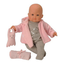 Corolle Mon Bebe Classiques Dodo 14 in. Doll - Aww-inspiring, the Corolle Mon Bebe Classiques Dodo 14 in. Doll has such a sweet face and is so huggably soft, no one can resist her. A perfect baby doll for your own little one aged two and older. This baby doll features a soft, plush body and smooth vinyl skin that's delicately scented with vanilla. Her new favorite dolly comes complete in a cozy grey onesie with soft pink robe, blanket, and stuffed friend. It even includes a mini booklet!About CorolleCorolle is a premier doll brand designed in the storybook region of France's Loire Valley. Since 1979, Corolle has been creating highly detailed dolls designed to be cherished by children everywhere. Every Corolle doll will inspire magical childhood memories that will last for a lifetime. Corolle dolls look and feel as real as possible. They're created of soft, supple vinyl, have natural-looking hair, and wear on-trend fashions. Corolle dolls are designed durable enough to withstand years of hugs and love. Perfect heirloom treasures! Doll play encourages children to explore different roles from caring for and sharing hopes and dreams to finding an understanding playmate and friend for life. Corolle designs dolls for children of all ages.There is a range of Corolle dolls designed for specific ages. Babi Corolle is a soft-body doll perfect for newborn babies and older. It's machine-washable, feather-light, and made to be loved. Mon Premier Corolle is designed for babies 18 months and older. This line includes a range of baby dolls, clothing, and accessories. The dolls are lightweight and soft. The clothing has Velcro closures so it's easy to put on and take off. Mon Classique Corolle is a classic baby doll designed for toddlers to love and nurture. This line has a complete assortment of larger baby dolls, clothing, and nursery accessories. Some even have hair that can be brushed and styled. Others coo, giggle, drink, and go potty. Mademoiselle Corolle is a toddler doll for