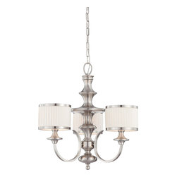 Nuvo Lighting - Nuvo Lighting 60-4734 Candice 3-Light Chandelier with Pleated White Shades - Nuvo Lighting 60-4734 Candice 3-Light Chandelier with Pleated White Shades