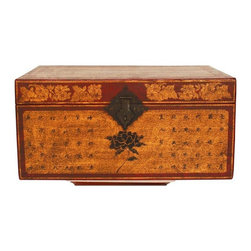 Used Vintage Asian Travel Storage Trunk - Vintage asian hand painted travel storage trunk. Made of a vulcanized fiber and featuring original brass hardware. Hand painted with asian writing and floral motif. Circa the early 20th century and in excellent condition.