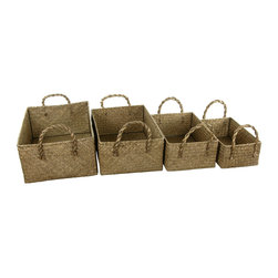 Oriental Furniture - Hand Plaited Basket Bin with Handles ( Set of 4 ) - Rustic braided handles adorn this set of four baskets. Perfect for storing and transporting kids toys, pets toys, and more. The solid construction and eco-friendly rush grass material make this affordable set a savvy choice for all.