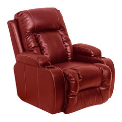 Catnapper - Catnapper Top Gun Bonded Leather-Power Chaise Recliner Chair in Red - Catnapper - Recliners - 6420120314300314
