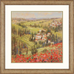 Paragon Decor - Provencial Village XIV Artwork - Fields of flowers and rolling hills are interspersed quaint villages.
