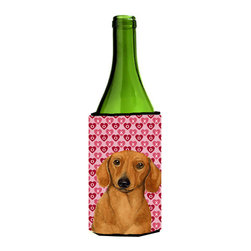 Caroline's Treasures - Dachshund Hearts Love and Valentine's Day Portrait Wine Bottle Koozie Hugger - Dachshund Hearts Love and Valentine's Day Portrait Wine Bottle Koozie Hugger Fits 750 ml. wine or other beverage bottles. Fits 24 oz. cans or pint bottles. Great collapsible koozie for large cans of beer, Energy Drinks or large Iced Tea beverages. Great to keep track of your beverage and add a bit of flair to a gathering. Wash the hugger in your washing machine. Design will not come off.