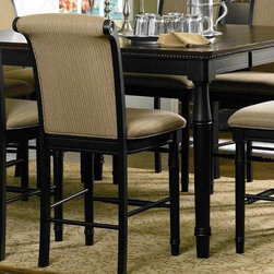 Coaster - Cabrillo Counter Height Dining Table - Stools sold separately. Traditional style. Smooth top with rounded corners and beaded edge. 18 in. leaf. Turned tapered legs. Deep cappuccino finish. Minimum: 60 in. L x 42 in. W x 36 in. H. Maximum: 60 in. L x 60 in. W x 36 in. H. WarrantyThis beautiful counter height dining table will add a sophisticated style to your casual dining or entertainment space.