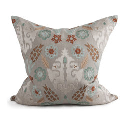 Kathy Kuo Home - Solon Coastal Beach Grey Seafoam Green Square Pillow - Hand embroidered pillows in linen and silk are sumptuously oversized and generously filled with down and feathers - tossed on a bed or a gathered on a sofa, create a lasting personal touch.