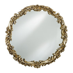 Afina - Timeless Tradition Round Mirror - 36 diam. in. - TT-108-GD - Shop for Bathroom Mirrors from Hayneedle.com! The Timeless Tradition Round Mirror was designed to highlight any wall with a reflective beauty that represents a classic style. This round mirror offers a wood frame in antique gold antique silver or antique white with ornate scrollwork and leaf details. Perfect for any bedroom hallway or living space.About AfinaAfina Corporation is a manufacturer and importer of fine bath cabinetry lighting fixtures and decorative wall mirrors. Afina products are available in an extensive palette of colors and decorative styles to reflect the trends of a new millennium. Based in Paterson N.J. Afina is committed to providing fine products that will be an integral part of your unique bath environment.