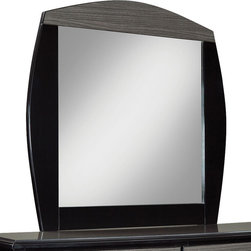 Standard Furniture - Standard Furniture Decker Square Panel Mirror in Black - Our Decker bedroom presents sleek modern styling in a show stopping two-tone finish of gloss black paired with cool grey over highly figured flat-cut graining. Add metal accents in a brushed nickel color, plus crisp and sleek modern styling, and you have an upscale fashion forward look that is perfect for today's home. Modern design features include double look case tops and clean drawer fronts in the grey wood grain color, highlighted by contrasting black edge shapes. Drawer fronts overlap the exposed black case framing to emphasize the grey tone wood grain finished drawer fronts. Case end panels are also finished in the high sheen black color for added drama. All case pieces are accented by metal bracket feet and bowed bar pulls, both in brushed nickel color. Pieces available include a 6 Drawer Dresser, Landscape Mirror, TV/Media Chest, 2 Drawer Nightstand, and Platform bed in full/Queen or King size. The platform bed has a black frame and two tone headboard with a profile shape that echoes the framed landscape mirror. Pair this Modern styled bedroom with one of our fully upholstered beds for a truly sophisticated look.