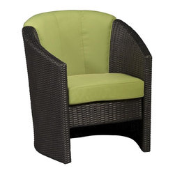 HomeStyles - Barrel Outdoor Accent Chair (Green Apple) - Color: Green AppleSeat and back cushions. Rust-resistant, powder-coated aluminum frame. 100% recyclable, moisture and weather resistant, low maintenance. Shaped legs with adjustable levelers to accommodate uneven surfaces. Bolted together for additional support and sturdiness. Polyurethane cushion fabrics with polyester fiber wrap in green apple color. Stain resistant, fade resistant, water repellent fabric. Requires very little maintenance. Made from cycroplene. Deep brown color with a gold streak design. Made in Indonesia. 29 in. W x 30 in. D x 34.25 in. H. WarrantyRiviera Barrel Accent Chair with Green Apple Cushion-Finally!! An economical solution for upscale outdoor furniture.