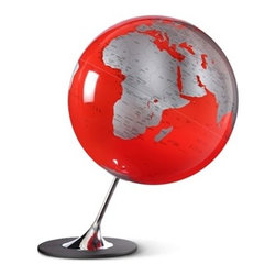 "Atmosphere Anglo Globe (Red) Design By Tecnodidattica - Atmosphere Anglo Globe.  Globe-making started at Tecnodidattica (Italy) in 1949 when father, Riccardo Donati and son, Renato experimented with handmade globes for educational purposes to add to their line of office supplies and stationery. Today Tecnodidattica supplies the world with National Geographic Globes and this particularly fine collection of Atmosphere globes.   Largely still handmade, the globes are blown much like glass, and assembled on their bases using designs from various gifted designers and engineers.  Features Available in Black, Red or Slate 9.8"" Diameter 14.2""H Metal and Chromed Steel base Designed by Claus Jensen & Henrik Holbaek, Tools"