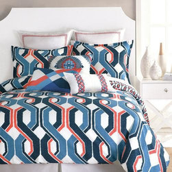 """Trina Turk - Trina Turk Coastline Ikat Comforter Set - Trina Turk's comforter bedding set showcases a bold interpretation of traditional ikat patterns. Soft cotton comforter set features crisp blue and white with persimmon accents. Gender neutral and perfect for beach house and nautical homes.-  Large-scale pattern reverse to smaller print-  100% cotton sateen-  100% cotton fill-  Machine washable-  ImportedTwin Set-  Twin T/TXL comforter - 68"""" x 92""""-  1 std sham - 21"""" x 27""""Queen Set-  Queen comforter - 92"""" x 96""""-  2 std shams - 21"""" x 27""""King Set-  King comforter - 110"""" x 96""""-  2 king shams - 21"""" x 37"""""""