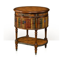 Theodore Alexader - Louis XVI library Lamp Table - faux book panel circular lamp table, verdigris brass mounts, aged brown leather top and undertier, drawer and cabinet, turned fluted legs. The original Louis XVI.