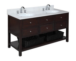 Kitchen Bath Collection - New Yorker 60-in Double Sink Bath Vanity (White/Chocolate) - This bathroom vanity set by Kitchen Bath Collection includes a chocolate cabinet with soft close drawers, white marble countertop, double undermount ceramic sinks, pop-up drains, and P-traps. Order now and we will include the pictured three-hole faucets and a matching backsplash as a free gift! All vanities come fully assembled by the manufacturer, with countertop & sink pre-installed.