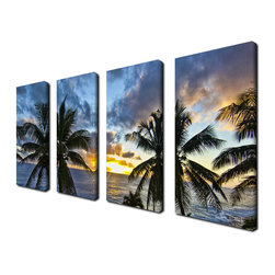 Ready2HangArt - Ready2hangart Chris Doherty 'Niue Sunset III' 4-piece Canvas Wall Art - The 'Niue Sunset III' 4-piece canvas art set depicts a horizon with scattered palms brushed by clouds above and a settling sun. This 4-piece canvas art set features a tropical theme and is gallery-wrapped canvas for a contemporary look.