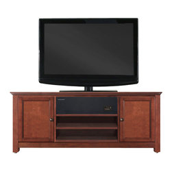 Crosley Furniture - Crosley Furniture 48 Inch Low Profile AroundSound TV Stand Cherry - Crosley raises the bar in home audio electronics with the introduction of the Crosley AroundSound TV Stand.  Designed with the home theater enthusiast in mind, this single solution offers a high definition sound experience cleverly built into a distintive Crosley Media Cabinet.  This extraordinary pairing is truly where form meets function.  The AroundSound SoundBar is specifically designed to enhance your favorite TV programming, music, high definition video, and gaming applications.  Cutting edge technology delivers a robust richness for optimal acoustical consistency no matter where you are seated.  We then marry our impressive audio with an exceptionally crafted Crosley Furniture Cabinet.  Handsomely porportioned, our media consoles accomodate most flat panel TVs while effortlessly taming the unsightly mess of tangled wires.  Discreetly conceal stacks of CDs, DVDs, gaming components and media paraphernalia.  Finally, a solution that combines a beautiful furniture cabinet with a remarkable home theater sound experience - only from Crosley.