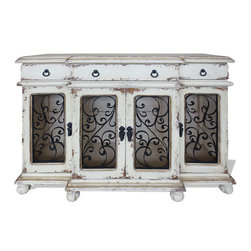 Dallas Sideboard, Antiqued Creams with Espresso Undertones - Dallas Sideboard, Antiqued Creams with Espresso Undertones