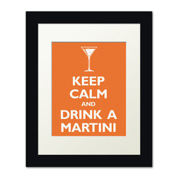 Keep Calm Collection - Keep Calm and Drink A Martini, framed print (tangerine) - This item is an Art Print which means it is a higher-quality art reproduction than a typical poster. Art prints are usually printed on thicker paper, resulting in a high quality finish. This print is produced on a 270 gsm fine art paper stock.