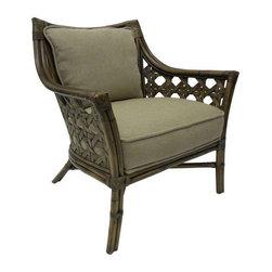 Palecek Rattan & Linen Upholstered Lounge Chair - $1,528 Est. Retail - $750 on C -