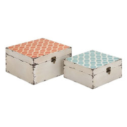"Benzara - Trendy and Vintage Styled Square Shaped Set of Two Boxes - Make your storage space look beautiful with this lovely set of boxes. Made from wood this unique set of 2 boxes are available in two different sizes and a features a light orange and light blue floral patterns on the top of the lid with a unique shaped lock and peeling effect for that vintage appeal. These boxes will not only help you tidy up your home but will also spruce up any space or ambience with its uniqueness. Your guests and visitors will be awestruck at this sight of this wonderful storage boxes. You can store your all essential things and sort your home or space.These set of boxes are easy to clean and very durable. They can suit any space and will consume less space. You can also present it to your near and dear ones, they will surely appreciate this one of a kind storage container. So don't wait and get one now. This Set of Two Boxes measures 10 inch (W) x 10 inch (D) x 5 inch (H) and 8 inch (W) x 8 inch (D) x 4 inch (H); Made from wood; Colorful floral patterns; Dimensions: 11""L x 11""W x 6""H"