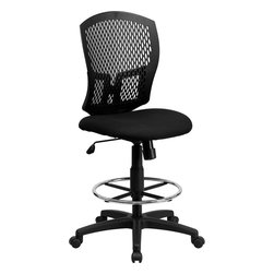 Flash Furniture - Mid-back Designer Back Drafting Stool with Padded Fabric Seat - This contemporary Designer Back Office Chair features a perforated plastic back and will keep you cool and comfortable throughout the day. This chair features a back tilt lock and pneumatic seat lift.