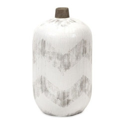 """IMAX - Chevra Short Vase - Add a subtle pop of texture and pattern to table tops, dressers or shelves with the Chevra vase.  Item Dimensions: (12.5""""h x 7""""w x 7"""")"""