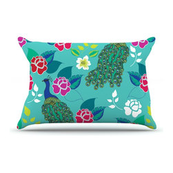 "Kess InHouse - Anneline Sophia ""Mexican Peacock"" Teal Rainbow Pillow Case, Standard (30"" x 20"") - This pillowcase, is just as bunny soft as the Kess InHouse duvet. It's made of microfiber velvety fleece. This machine washable fleece pillow case is the perfect accent to any duvet. Be your Bed's Curator."