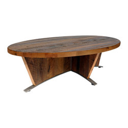 Reclamation Company - Carlisle Cocktail Table, Heart Pine, Clear Lacquer, Metal Base, Polished Steel - The sanded surface of the reclaimed wood, showing all if the nail holes is the feature element of the Carlisle group.  Because this is a unique handmade piece, please allow a 4 to 6 week lead time. Note: Please use the swatch image for an indication of the wood and finish options.