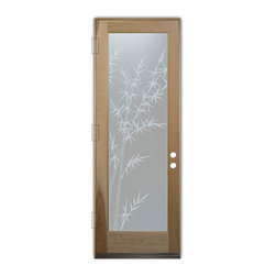 Sans Soucie Art Glass (door frame material T.M. Cobb) - Glass Front Entry Door Sans Soucie Art Glass Bamboo Forest Private - Sans Soucie Art Glass Front Door with Sandblast Etched Glass Design. Get the privacy you need without blocking light, thru beautiful works of etched glass art by Sans Soucie! This glass provides 100% obscurity. (Photo is view from outside the home or building.) Door material will be unfinished, ready for paint or stain.  Bronze Sill, Sweep, Satin Nickel Hinges.  Available in other finishes, sizes, swing directions and door materials.  Dual Pane Tempered Safety Glass.  Cleaning is the same as regular clear glass. Use glass cleaner and a soft cloth.