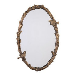 Uttermost - Uttermost 13575 P Paza Oval Mirror with Bird and Vine Detail Frame - Uttermost 13575 P Grace Feyock Paza Oval MirrorThis hand forged metal frame features a bird and vine design. The finish is distressed, antiqued gold leaf with a gray glaze.Features: