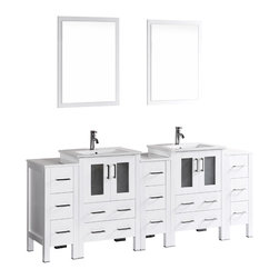 """Bosconi - 84"""" Bosconi AB224U3S Double Vanity, White - The elegant concept of your design perspective will be made clear with this large 84"""" glossy white Bosconi double vanity set. The integrated ceramic sinks bring a modern feel while the perfectly coordinating mirrors pull the look together. Features include two spacious cabinets with soft closing doors, as well as, three detached side cabinets with three pull out drawers each. Plenty of space to efficiently accommodate towels, toiletries and bathroom accessories."""
