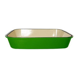 "Le Chef Cookware - Le Chef Enamel Cast Iron Green Rectangular Roasting Dish, 16"" - LeChef® porcelain nameled coating cast iron roaster is cast from molten iron in individual sand molds. LeChef roasters feature wide shallow shapes to allow maximum exposure of the food to the heat source. The wide, shallow shape of these pieces exposes the maximum surface area of the food to the heat source, whether it be all around heat in the oven, under the broiler or even on the stovetop. It also comes equipped with matching side loop handles. The excellent heat retention reduces the amount of energy needed for roasting. In addition the hard and glossy porcelain enameled surface is chip resistant and easy to clean. Hygienic porcelain enamel is non-reactive with food."