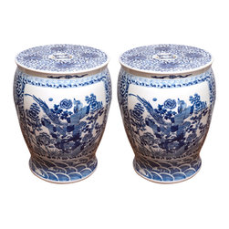 Pair of 20th Century Chinese Blue and White Garden Seats - The unusual shape and design make this pair of blue and white Chinese garden stools very distinctive.