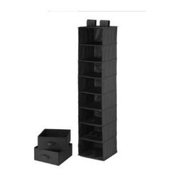Honey Can Do - 8 Shelf Organizer & Two Drawers - Black Polye - 8 shelves w 2 drawers. Black polyester. 12 in. x 12 in. x 54 in.