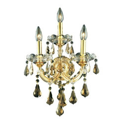 """PWG Lighting / Lighting By Pecaso - Karla 3-Light 12"""" Crystal Wall Sconce 2381W3G-GT-RC - Karla was an Empress from 1740 to 1780 in the waning days of the Baroque period. The Baroque love of embellishment is highlighted in the elaborate crystal swags and drops that fully dress these fixtures in a look that is pure luxury. From the gold or chrome finish to the fully lavish crystal dressing, this Karla collection represents opulent sophistication."""