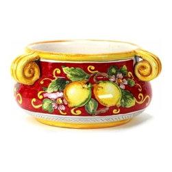 Artistica - Hand Made in Italy - Limoni Fondo Rosso: Round Bowl 3/Handles - Limoni Fondo Rosso Collection: