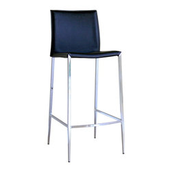 Baxton Studio - Baxton Studio Jenson Black Leather Bar Stool - These stools will give you great support for eating and having fun. Durable bonded leather upholstery for longer lasting use and stain resists for easy clean up. Chair constructed with sturdy steel frame lightly padded with high density foam for added comfort. This stool will make your room into the fun and exciting place that you need and want. If you are looking for a classic stool with clean lines and design, then you will want to consider this quality stool.