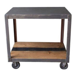 Gray Vintage Industrial Bar Cart with Black Stripe - This cool cart makes our heart race. As if a refurbished vintage industrial bar cart wasn't enough, they went and added a sassy black racing stripe down the center. Perched atop castors, this cart will work in any room of the house.