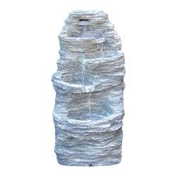 """Sunnydaze Decor - Four Tier Rock Falls Outdoor Fountain - 31.5"""" Tall x 16"""" Deep x 15"""" Wide, Fountain Weight: 24 lbs"""