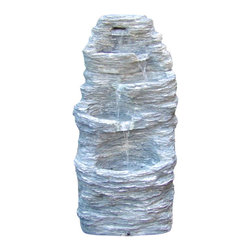 "Serenity Health & Home Decor - Four Tier Rock Falls Outdoor Fountain - 31.5"" Tall x 16"" Deep x 15"" Wide, Fountain Weight: 24 lbs"