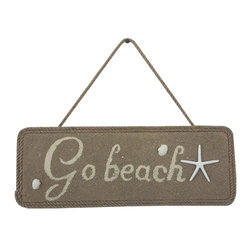 Handcrafted Nautical Decor - Wooden Go Beach Shell and Starfish Sign 16'' - Our   Wooden Go Beach Shell And Starfish Sign 16'' is the perfect choice to display   your affinity for decorating a beach house. Whether placing this sign in a beach house, using it as a coastal decorating idea, or hanging it up as part of   your beach bedroom decor, one thing is for   certain: you are sure to inject the beach lifestyle into your humble   abode.------    Easily mountable to hang outside or inside--    Solid wood--    Handcrafted and highly detailed--
