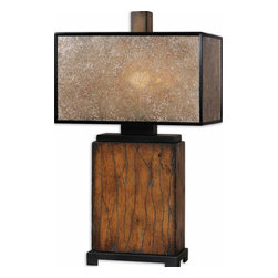 Uttermost - Sitka Wood Table Lamp - Solid Wood Finished In A Heavily Distressed Rustic Mahogany With A Light Rottenstone Glaze And Aged Black Details. The Rectangle Box Shade Is Made Of Natural Mica With Aged Black Trim. Number Of Lights: 1, Shade: Rectangle Box Shade, Shade Size: Height: 10, Top: 9w X 17d, Bottom: 9w X 17d, Voltage: 110, Wattage: 100w, Bulbs Included: No