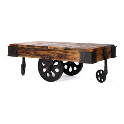 Sonoma Factory Cart Coffee Table - This attractive cart has one final stop — right in the center of your living space.