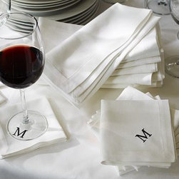 """Caterer's 6-Piece Dinner Napkin Set, White - Perfect for big events and intimate gatherings alike, our classic napkins are woven from pure cotton with a twill pattern for durability and simple, tailored elegance. Cocktail: 10"""" square Dinner: 20"""" square Made of pure cotton. Set of 6; choose Cocktail or Dinner. Machine wash. Monogramming is available at an additional charge. Monogram will be placed at one corner of each napkin. Imported."""