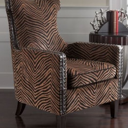 Matthew Williams Kimoni Armchair - This animal-print inspired chair is bold, even a little exotic.  No shy wallflower, the Kimoni armchair will make a dramatic statement in a room. This chair would be great in a living room or a paneled library or study.