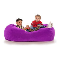 "jaxx - Jr Bean Bag Sofa - For story time, nap time, play time, and any time, kids love to snuggle into the plush and supportive foam of Jaxx Lounger Jr. Fit one, two, or three children under 9 on the spacious Jaxx Lounger Jr. Perfect for a children's play room, this miniature lounger gives kids their own space. The ultra soft microsuede cover is available in bright colors that kids love. Jaxx Lounger Jr. is filled with shredded furniture grade foam, and the cover easily zips off for machine washing. Underneath, a protective liner with a childproof zipper keeps the foam contents out of reach. Features: -100% Recycled furniture grade shredded foam filling.-Removable polyester plush microsuede cover zips off easily for machine washing.-Childproof safety zipper.-Fits up to three children under nine, there is no sinking through to the floor.-Made in the USA.-Collection: Jaxx Jr. Bean Bags.-Distressed: No.-Country of Manufacture: United States.-Material: Microsuede.-Fill Included: Yes -Fill Material: Urethane foam..-Removable Cover: Yes.-Product Care: Removable cover: machine wash cold, tumble dry..Dimensions: -Overall Product Weight: 17 lbs.-Overall Height - Top to Bottom: 26"".-Overall Width - Side to Side: 46"".-Overall Depth - Front to Back: 34"".Warranty: -Manufacturer provides 1 year warranty on cover and liner defects.-Product Warranty: 1 year manufacturer parts warranty."