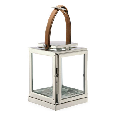 Kathy Kuo Home - Marcus Small Modern Floor Candle Lantern with Leather Handle - Buckle up. You are about to be ignited by this striking candle lantern. Standing at 40-inches tall, crafted from brass and finished in polished nickel with a strapping leather handle, it will appeal to your rugged and chic nature brilliantly.